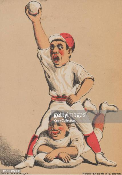 Victorian trade card for Capadura Cigars, with a cartoon of a baseball player in full uniform with the ball in his raised hand, as another player...