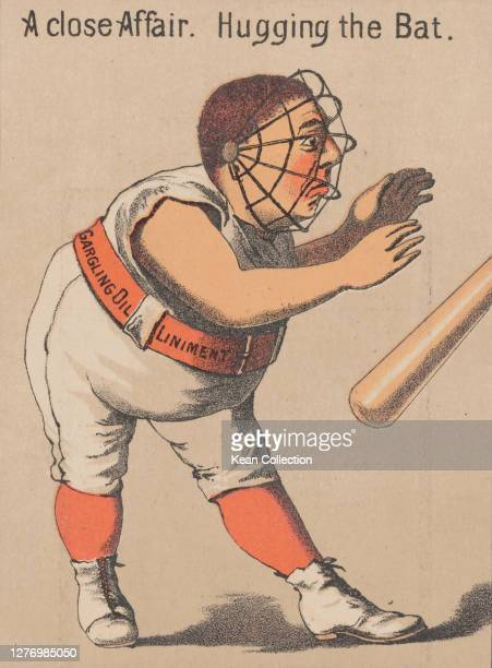 Victorian trade card for Merchant's Gargling Oil, with a cartoon of a baseball catcher in full uniform and a catchers' face guard as he stands behind...