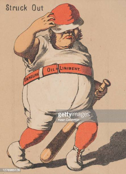 Victorian trade card for Merchant's Gargling Oil, with a cartoon of a baseball player in full uniform , dragging his bat behind him, beneath the...