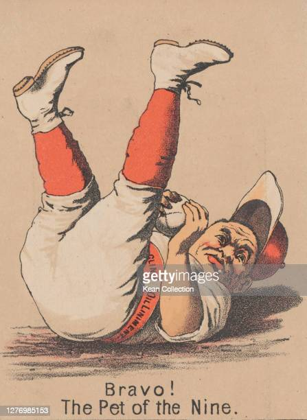 Victorian trade card for Merchant's Gargling Oil, with a cartoon of a baseball player in full uniform , falling on his back as he catches the ball,...