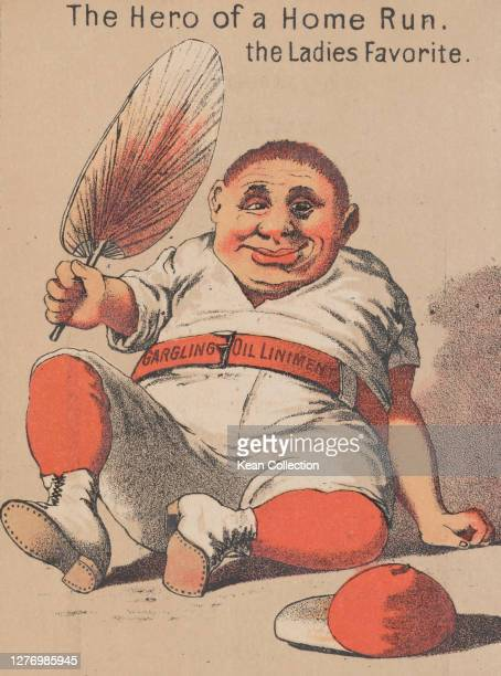 Victorian trade card for Merchant's Gargling Oil, with a cartoon of a baseball player in full uniform , sitting on the floor fanning himself, beneath...