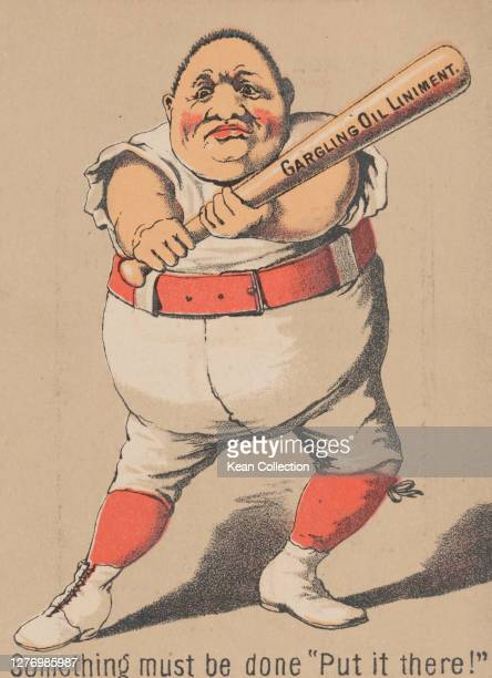 Victorian trade card for Merchant's Gargling Oil, with a cartoon of a baseball player in full uniform , ready to strike the ball, Merchant's Gargling...