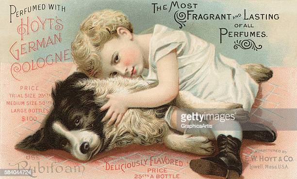 Victorian trade card of an endearing embrace between a young child and a collie dog 1901 Chromolithograph