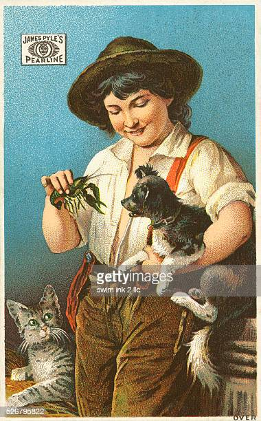 Victorian Trading Card with Boy Holding a Crayfish