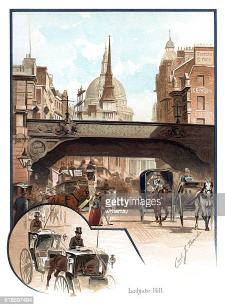 Victorian traffic in Ludgate Hill, London