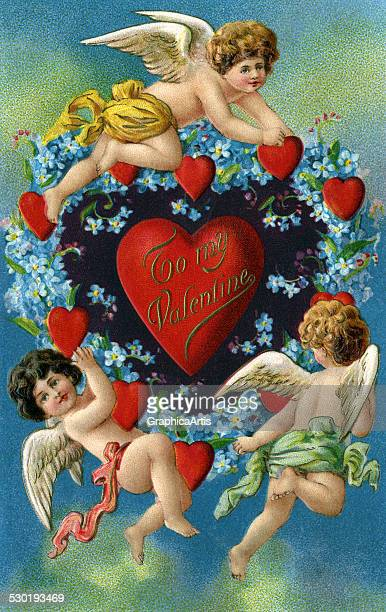 Victorian Valentine's Day illustration of winged cherubs surrounding hearts 1910