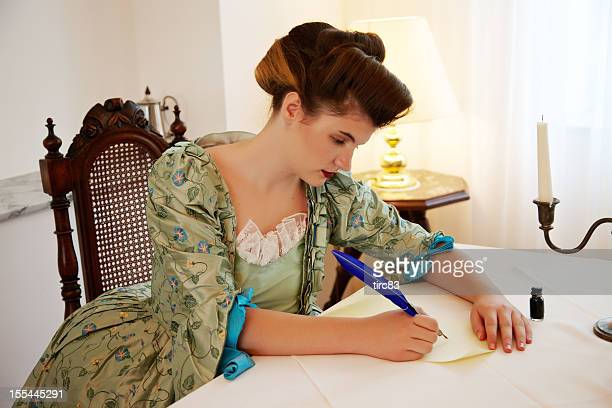victorian woman writing a letter - 19th century style stock pictures, royalty-free photos & images