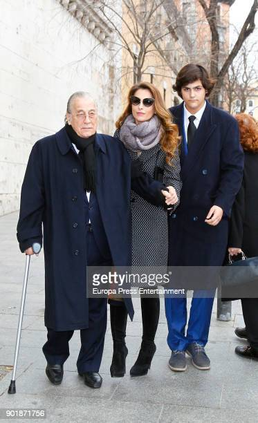 Victoriano Valencia and Paloma Cuevas attend the funeral service for Carmen Franco daughter of the dictator Francisco Franco at La Almudena cathedral...