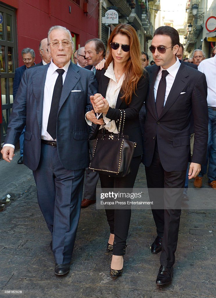 Victoriano Valencia, Paloma Cuevas and Enrique Ponce attend the funeral for the Spanish bullfighter Jose Maria Manzanares at Cathedral of San Nicolas on October 30, 2014 in Alicante, Spain.