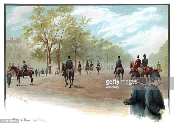 victorians riding in rotten row, hyde park, london - hyde park london stock photos and pictures