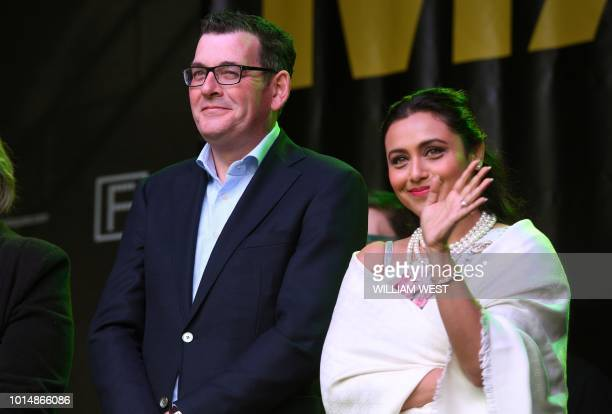 Victoria's Premier Daniel Andrews and Indian actress Rani Mukerji attend an event at the Indian Film Festival of Melbourne on August 11 2018