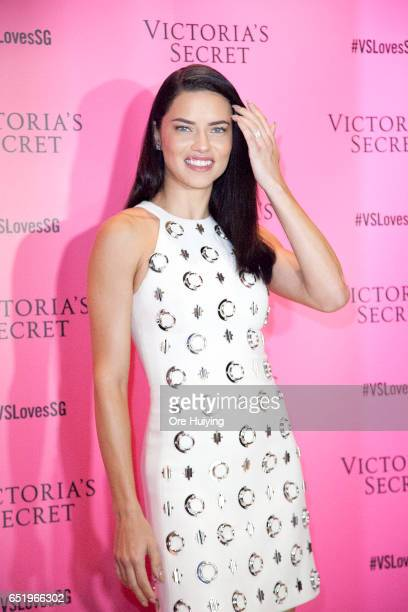 Victoria's Secret Angel Adriana Lima attends the launch of Victoria's Secret new Body by Victoria collection on March 10 2017 in Singapore