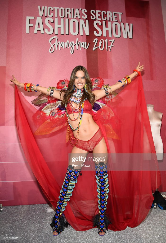 Victoria's Secret Angel Alessandra Ambrosio poses backstage during 2017 Victoria's Secret Fashion Show In Shanghai at Mercedes-Benz Arena on November 20, 2017 in Shanghai, China.