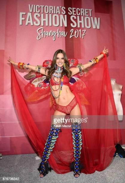 Victoria's Secret Angel Alessandra Ambrosio poses backstage during 2017 Victoria's Secret Fashion Show In Shanghai at MercedesBenz Arena on November...