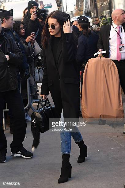Victoria's Secret Angel Bella Hadid is seen arriving at le Grand Palais ahead of the 2017 Fashion Show