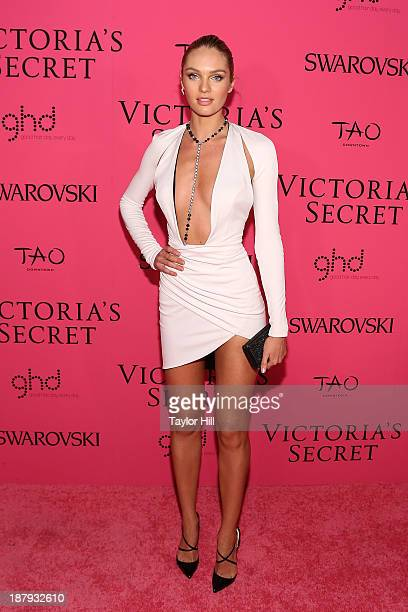 Victoria's Secret Angel Candice Swanepoel attends the after party for the 2013 Victoria's Secret Fashion Show at TAO Downtown on November 13 2013 in...