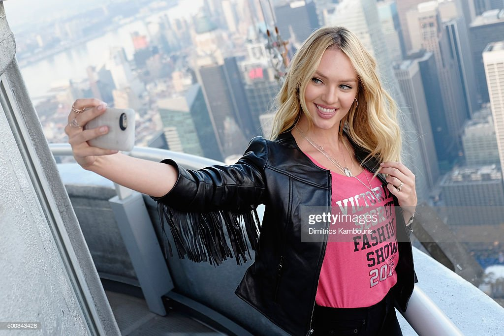 Victoria's Secret Angel Candice Swanepoel Lights The Empire State Building In Pink Stripes