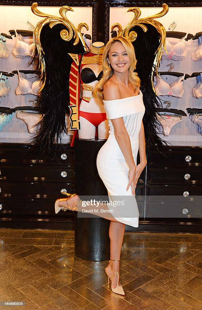 Victoria's Secret Angel Candice Swanepoel poses as she and fellow Angel Adriana Lima speak at the New Bond Street store on April 15, 2014 in London, England, to announce that the Victoria's Secret Fashion Show, the biggest global fashion event in the world, is coming to London for the first time this winter. The show will be filmed for broadcast on the CBS Television Network and shown in 192 countries.