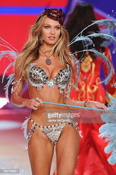 Victoria's Secret Angel Candice Swanepoel walks the runway during the 2012 Victoria's Secret Fashion Show at the Lexington Avenue Armory on November...