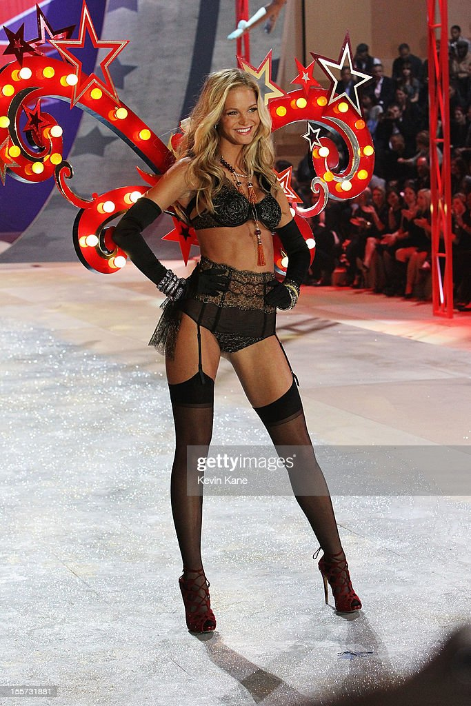 Victoria's Secret Angel Erin Heatherton walks the runway during the 2012 Victoria's Secret Fashion Show at the Lexington Avenue Armory on November 7, 2012 in New York City.