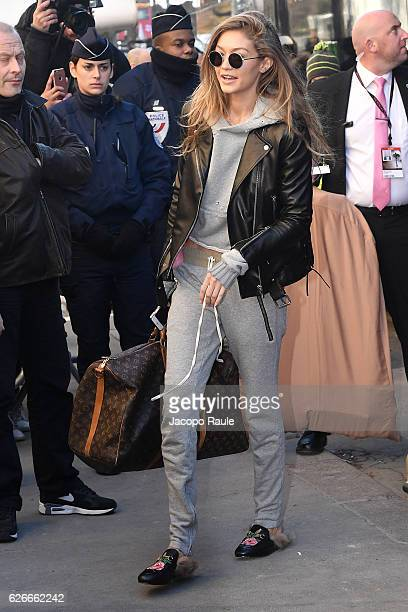 Victoria's Secret Angel Gigi Hadid is seen arriving at le Grand Palais ahead of the 2017 Fashion Show on November 30 2016 in Paris France