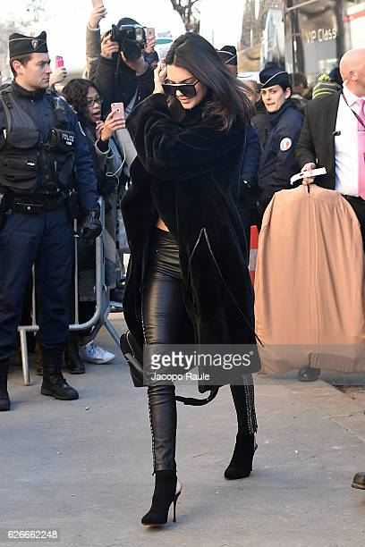 Victoria's Secret Angel Kendall Jenner is seen arriving at le Grand Palais ahead of the 2017 Fashion Show on November 30 2016 in Paris France