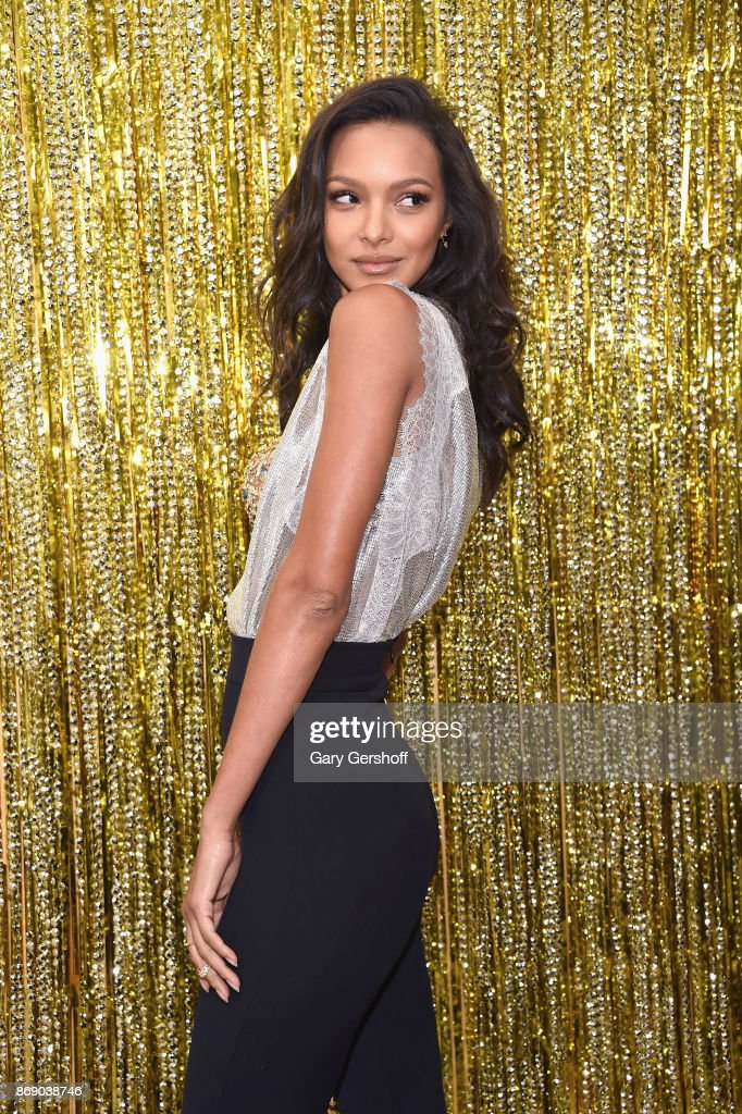Victoria's Secret Angel Lais Ribeiro reveals the 2017 Champagne Nights Fantasy Bra and new fragrance Bombshell Nights at Victoria's Secret, Fifth Ave on November 1, 2017 in New York City.