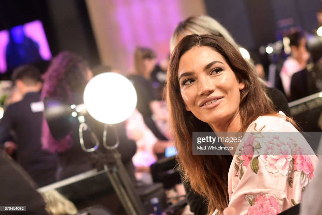 Victoria's Secret Angel Lily Aldridge poses in Hair & Makeup during 2017 Victoria's Secret Fashion Show In Shanghai at Mercedes-Benz Arena on November 20, 2017 in Shanghai, China.