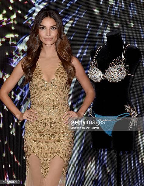 Victoria's Secret Angel Lily Aldridge reveals the $2 Million 2015 Fireworks Fantasy Bra at Victoria's Secret on November 2 2015 in Santa Monica...