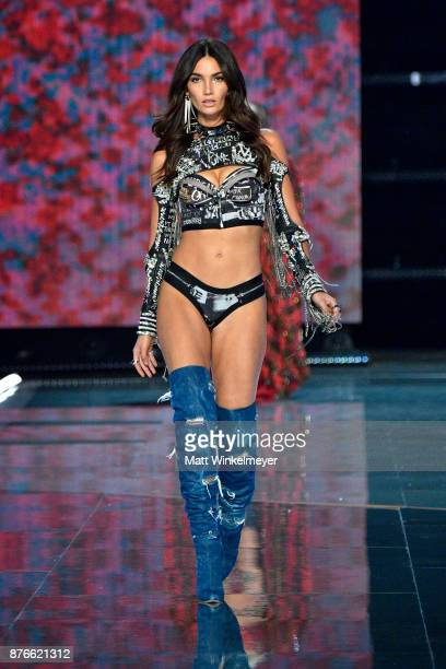 Victoria's Secret Angel Lily Aldridge walks the runway during the 2017 Victoria's Secret Fashion Show In Shanghai at MercedesBenz Arena on November...