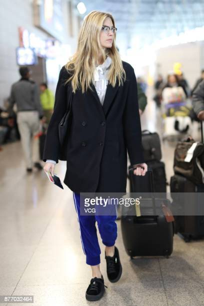 Victoria's Secret angel Martha Hunt is seen at Shanghai Pudong International Airport after the 2017 Victoria's Secret Fashion Show on November 21...