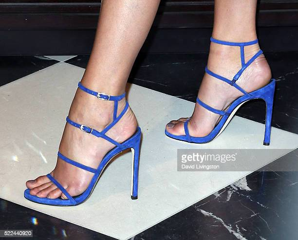Victoria's Secret Angel model Taylor Hill shoe detail poses at Victoria's Secret launch of the all new Bralette Collection at Victoria's Secret on...