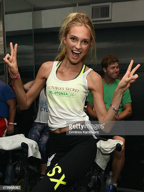 Victoria's Secret Angel Romee Strijd attends the Victoria's Secret Angels' Charity Ride For Pelotonia at SoulCycle West Village on July 8 2015 in New...