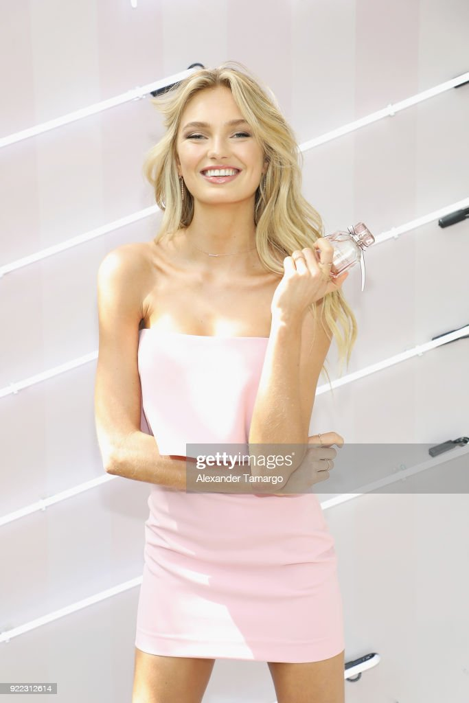 Victoria's Secret Angel Romee Strijd Celebrates The Launch Of Victoria's Secret Bombshell Seduction Fragrance on February 21, 2018 in Miami, Florida.