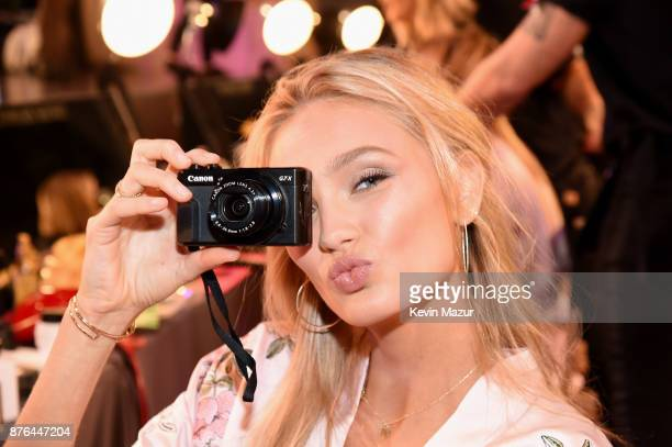 Victoria's Secret Angel Romee Strijd poses in Hair Makeup during 2017 Victoria's Secret Fashion Show In Shanghai at MercedesBenz Arena on November 20...