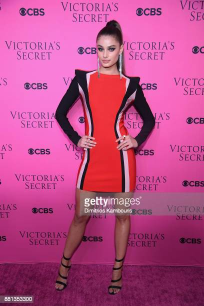 Victoria's Secret Angel Taylor Hill attends as Victoria's Secret Angels gather for an intimate viewing party of the 2017 Victoria's Secret Fashion...