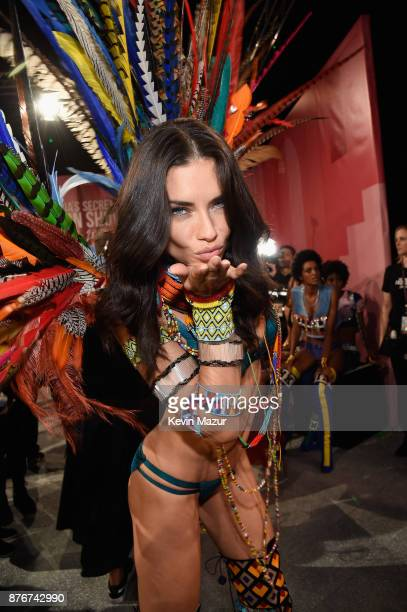 Victoria's Secret Angel Taylor Hill poses backstage during 2017 Victoria's Secret Fashion Show In Shanghai at MercedesBenz Arena on November 20 2017...