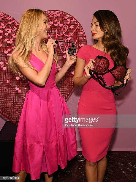 Victoria's Secret Angels Candice Swanepoel and Lily Aldridge celebrate Valentine's Day InStore at Victoria's Secret Herald Square on February 5 2015...