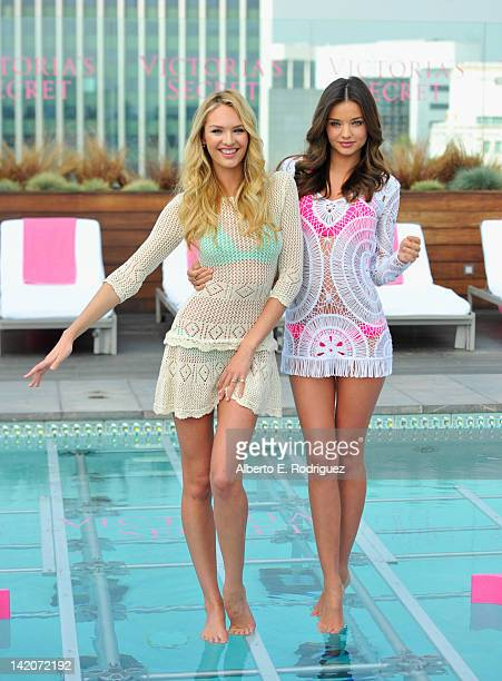 Victoria's Secret Angels Candice Swanepoel and Miranda Kerr launch the 2012 Swim Collection at the Thompson Hotel on March 29 2012 in Beverly Hills...