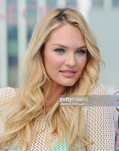 Victoria's Secret Angels Candice Swanepoel launches the 2012 Swim Collection at the Thompson Hotel on March 29 2012 in Beverly Hills California