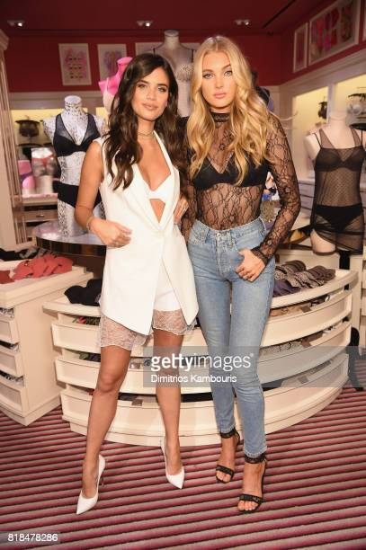Victoria's Secret Angels Elsa Hosk and Sara Sampaio celebrate the Victoria's Secret TShirt Bra at Victoria's Secret Fifth Ave on July 18 2017 in New...