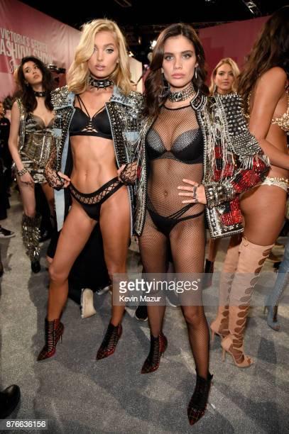 Victoria's Secret Angels Elsa Hosk and Sara Sampaio pose backstage during 2017 Victoria's Secret Fashion Show In Shanghai at MercedesBenz Arena on...