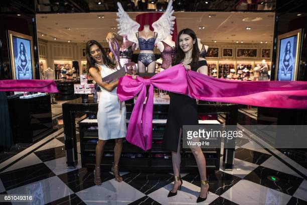 Victoria's Secret Angels He Sui and Alessandra Ambrosio attend the Grand Opening of Victoria's Secret Chengdu Store on March 10 2017 in Chengdu China