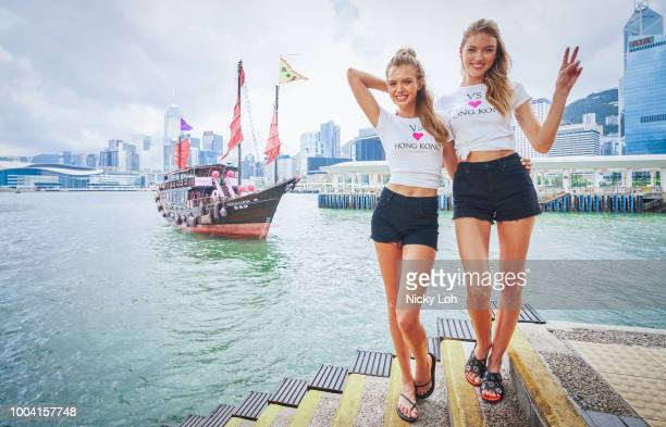 Victoria's Secret Angels Josephine Skriver and Martha Hunt pose for photographs to promote the launch of Victoria's Secret Hong Kong Flagship Store...