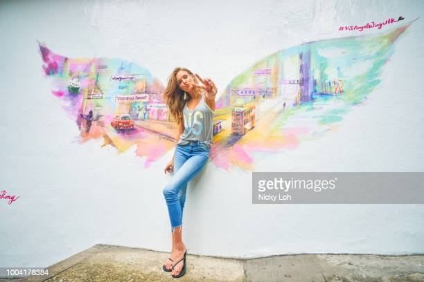 Victoria's Secret Angels Josephine Skriver poses for photographs to promote the launch of Victoria's Secret Hong Kong Flagship Store in Jardine's...