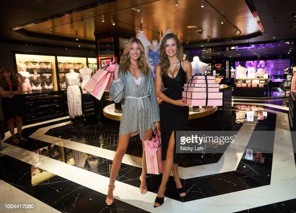 Victoria's Secret Angels Martha Hunt and Josephine Skriver pose for photographs to promote the launch of Victoria's Secret Hong Kong Flagship Store...