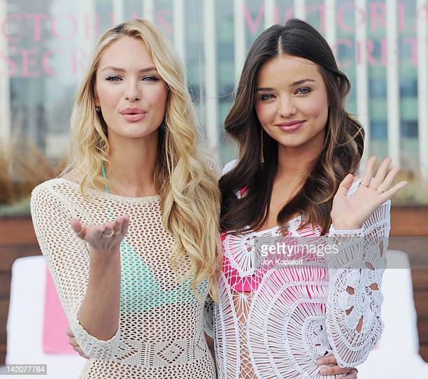 Victoria's Secret Angels Miranda Kerr and Candice Swanepoel Launch The 2012 SWIM Collection at the Thompson Hotel on March 29 2012 in Beverly Hills...