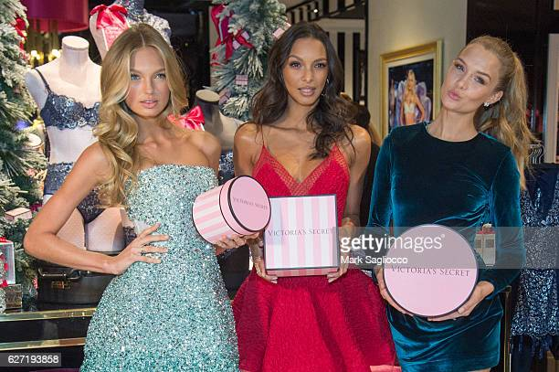 Victoria's Secret Angels Romee Strijd Lais Ribeiro and Josephine Skriver visits the new 5th Avenue Store to share their favorite holiday gifts and...