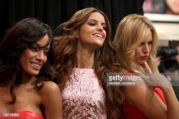 Victoria's Secret 'Angels' Selita Ebanks Izabel Goulart and Karolina Kurkova celebrate Valentine's Day at the Victoria's Secret Store Flagship Store...