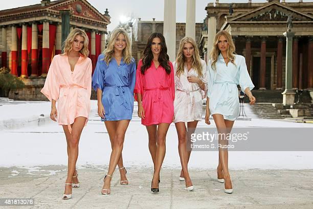 Victoria's Secret Angels Stella Maxwell Martha Hunt Alessandra Ambrosio Elsa Hosk and Romee Strijd land at Cinecitta Studios on July 23 2015 in Rome...